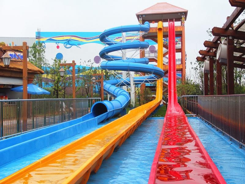 Adult Exciting Fiberglass High Speed Water Slide Customized For Water Park Equipment