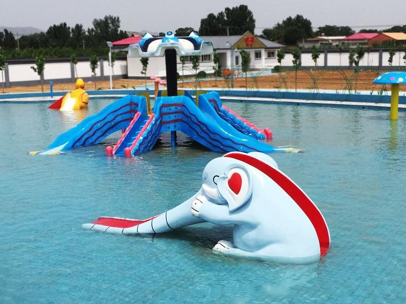 Water Park Animals Spray Toys Equipment Elephant Water Slide Fiberglass For Kid
