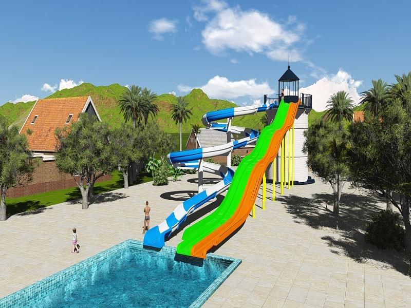 Fiberglass Summer Entertainment Planning And Design Water Park Project Combination slide