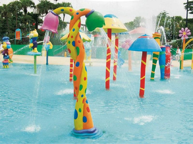 Guangzhou Factory Fiberglass Kids Two Flowers Spray Water Splash Pad