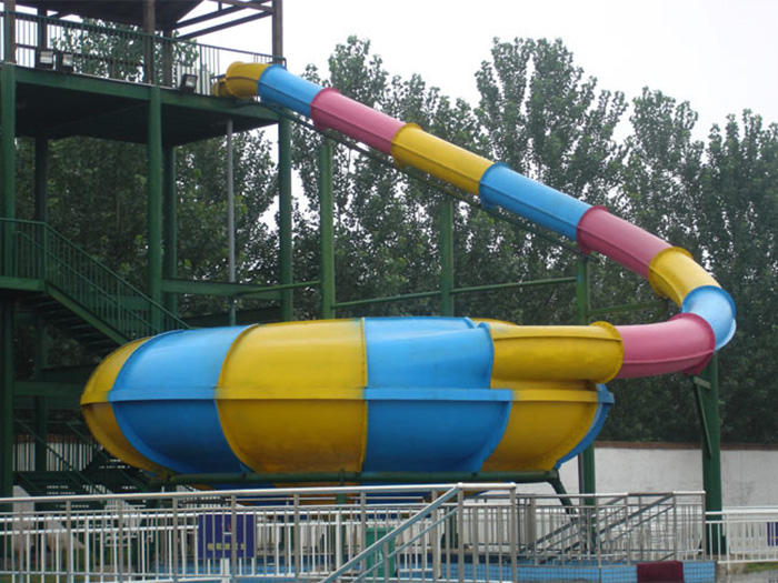 Mix Color Outdoor Space Bowl Fiberglass Water Slide For Swimming Pool