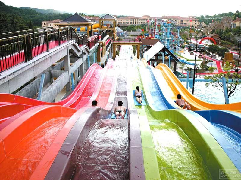 Fiberglass Rainbow Racing Water Slide Commercial Entertainment Fiberglass Water Slide