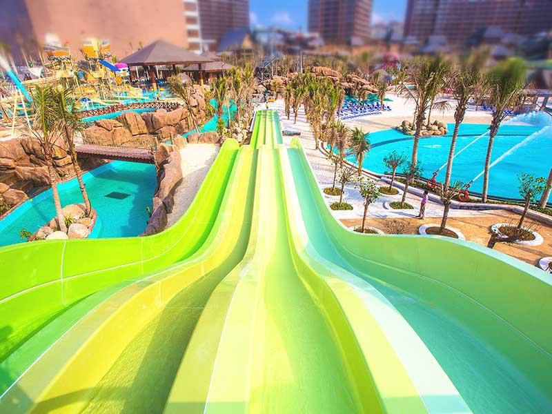 Fiberglass Rainbow Racing Water Slide Commercial Entertainment Fiberglass Water Slide