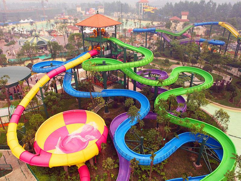Theme Park Combination Spiral Water Slide Commercial Fiberglass Water Slides For Hotel Resort