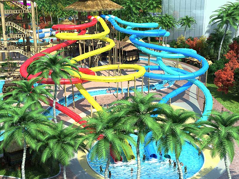 Wenwen Outdoor Spiral Tube Water Slide For Holiday Resort  Swimming Pool Fiberglass Water Park Slide Equipment Spiral water slide image1