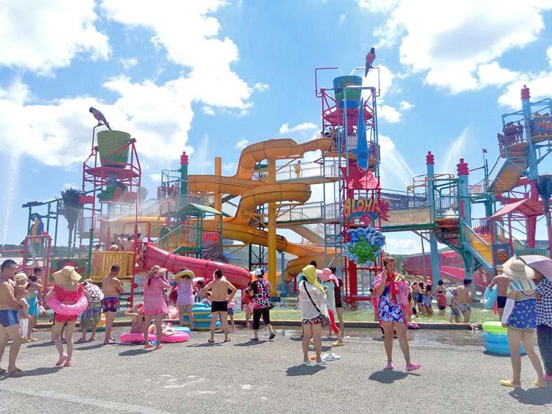 Wenwen Aquatic Playground Equipment Theme Park Fiberglass Slide For Hotel Resort Huge water playground image3
