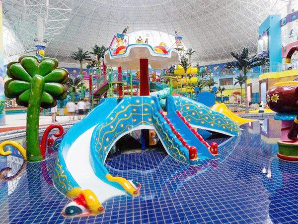 Swimming Pool Octopus Slide Outdoor Interactive Fiberglass Slides For Kids and Adult  Play Equipment