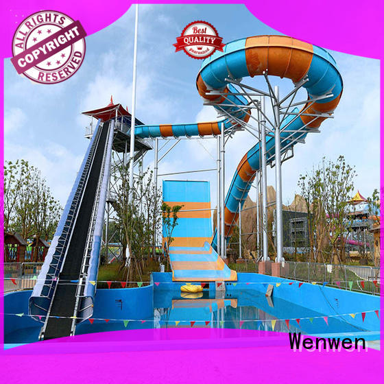 Wenwen commercial water slide with pool material for hotel