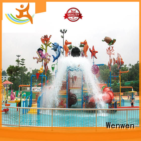 Aqua Playground Park Equipment Interactive House Slide With Spray / Water Curtain